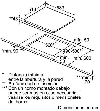 Medidas y tamaño de la placa vitrocerámicaBalay-3EB714XR
